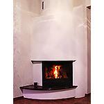 Kamin Kharkiv, region. Corner fireplace, fireplace insert, Hi-Tech veneer, marble.